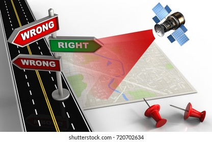 3d illustration of bright map with direction index and red pins