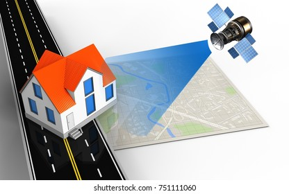 3d illustration of bright map with house and