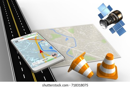 3d illustration of bright map with mobile navigation and repair cones
