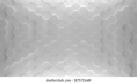 3D illustration of bright octagon surface. Two white light sources illuminate from above and from below.