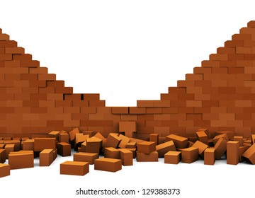 3d illustration of broken brick wall, over white background