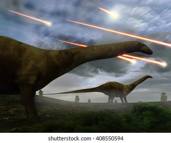 A 3D illustration of Brontosaurs looking upon the meteors raining down that preceded the larger asteroid strike that would lead to the extinction of the dinosaurs 65 million years ago.