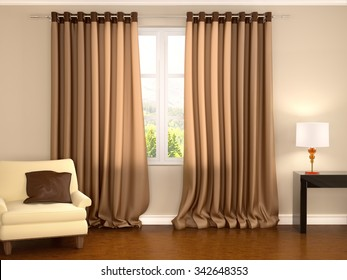 3d illustration of brown curtains in warm interior