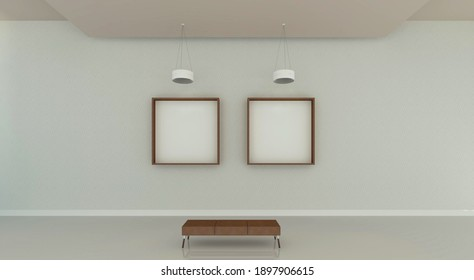 3d illustration of a brown leather bench in front of two square frames at a modern gallery mock up. White, grey and beige color tones at background.