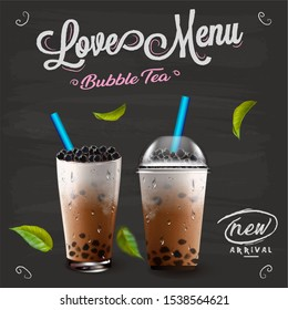 3D illustration. Bubble milk tea menu ads with delicious tapioca and pearl pouring into glass cup