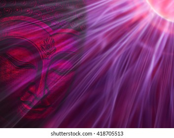 3D illustration Buddha face with energy beams