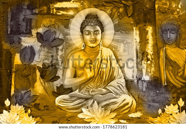 3D buddha painting with flowers wall mural wallpaper