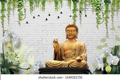 3D Illustration of Buddha wallpaper beautiful grass white background- 3d ILLUSTRATION