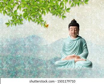 3D Illustration of Buddha wallpaper-3d illustration