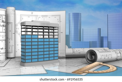3d illustration of building construction with drawings over skyscrappers background