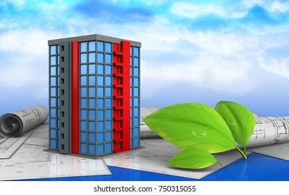 3d illustration of building over sky background