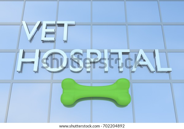 """3D illustration of a building with the script """"VET HOSPITAL"""" along with rubber bone"""