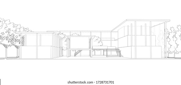 3D illustration of building wireframe on white background