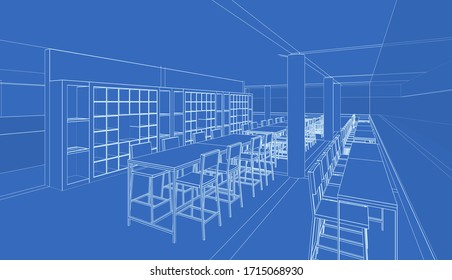 3D illustration of building in wireframe perspective