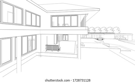 3d illustration building wireframe white 260nw 1728731128