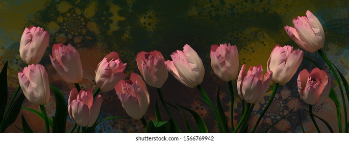 A 3d illustration of a bunch of pink tulips with an abstract background formated for a web banner