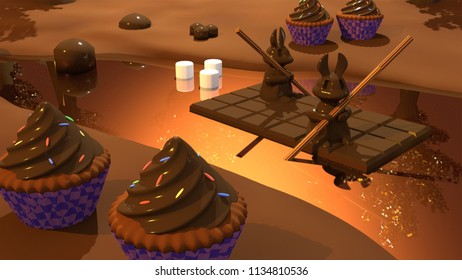 3D illustration of bunnies rowing a chocolate boat