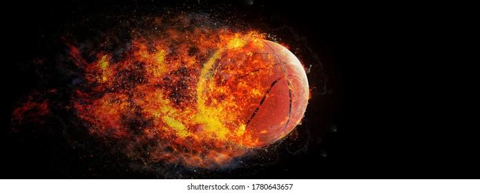 3D illustration of burning basketball ball