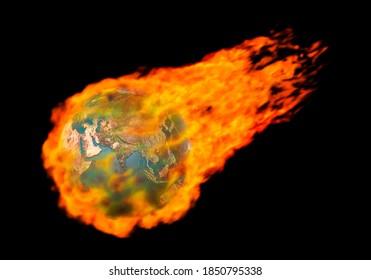 3D-Illustration eines Brennens in Flammen fliegenden Erdkugel Globale Erwärmung fossile Brennstoffe Treibhausgas-Umweltkonzept Isolierte Silhouette auf schwarzem Hintergrund