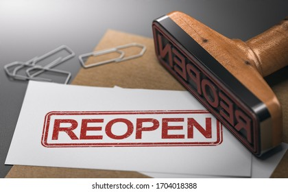 3D illustration of a business card with the word reopen printed on it and a rubber stamp. Concept of reopening economy.