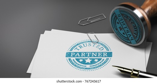 3D illustration of business cards with the text trusted partner and a rubber stamp. Concept of trusted business partnership.