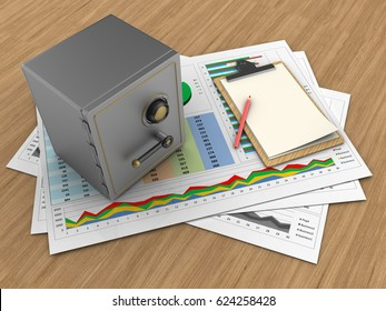 3d illustration of business documents and safe over wood background with note