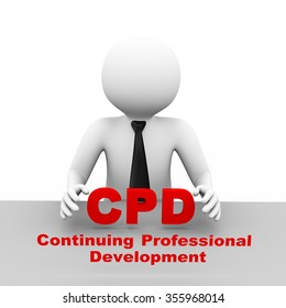 3d illustration business man with cpd continuing professional development abbreviation text. 3d human person character and white people