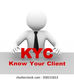 3d illustration business man with kyc know your client abbreviation text. 3d human person character and white people