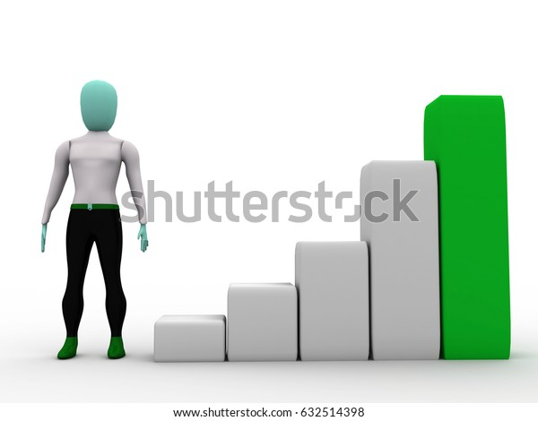 3d illustration business man standing with success graph