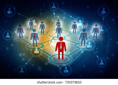 3d illustration Business Network
