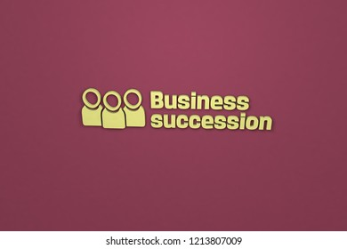 3D Illustration of Business succession with yellow text on red background