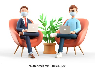 3D illustration of business teamwork. Two men with medical masks using laptops in armchairs.