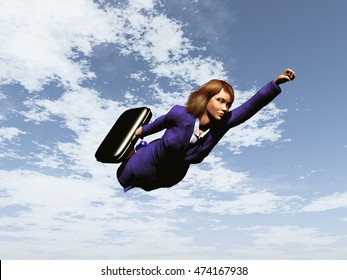 3d illustration of a business woman flying like a superhero