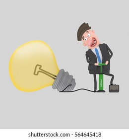 3d illustration. Businessman inflating a great idea