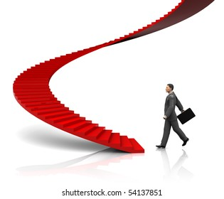 3d illustration of businessman step to stairway, start-up concept