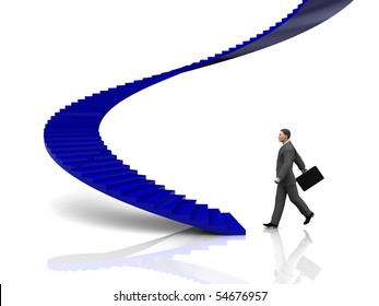 3d illustration of businessman step to stairway