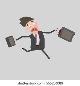 3d illustration. Businessman with suitcase running