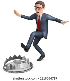 3d illustration Businessman trapping in the trap