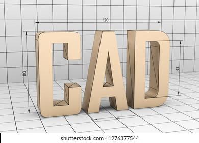 3D illustration of CAD grid gray