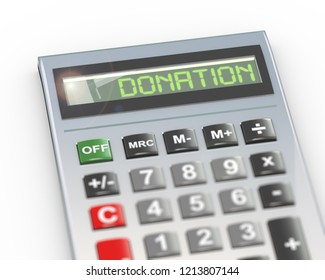 3d illustration of calculator with digital text word donate on lcd display