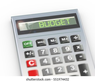 3d illustration of calculator with digital text word budget on lcd display