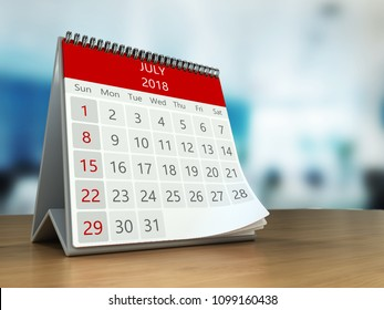 3d illustration of calendar on table desktop  in office, july 2018 page