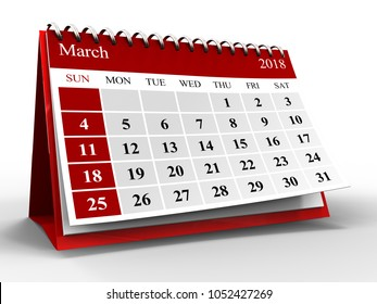 3d illustration of calendar over white with shadow, march 2018