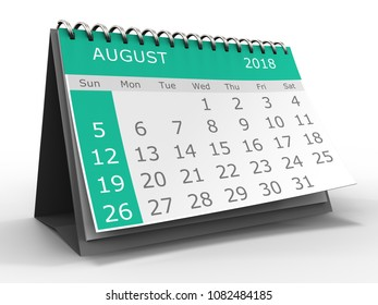3d illustration of calendar over white background august 2018 month