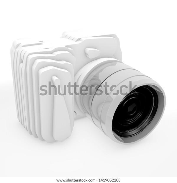 3D illustration, camera on grey background - Illustration