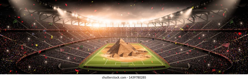 3D Illustration - CAN 2019 Stadium with Pyramids