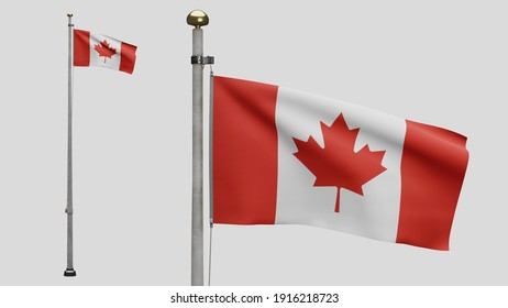 3D illustration Canadian flag waving in wind. Close up of Canada banner blowing, soft and smooth silk. Cloth fabric texture ensign background. Use it for national day and country occasions concept.