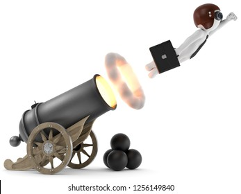 3D illustration Cannon fires white male
