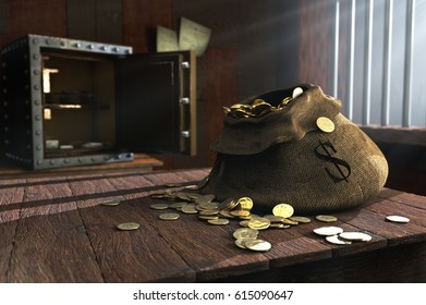 3D illustration of canvas bag full of money