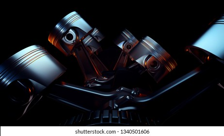 3D illustration of car engine closeup. Motor concept.